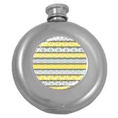 Paper Yellow Grey Digital Round Hip Flask (5 Oz) by Mariart