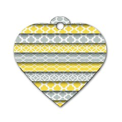 Paper Yellow Grey Digital Dog Tag Heart (one Side) by Mariart