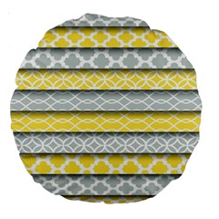 Paper Yellow Grey Digital Large 18  Premium Round Cushions by Mariart