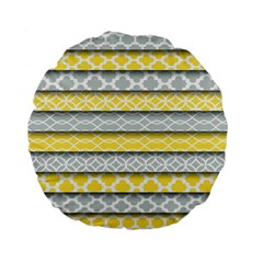 Paper Yellow Grey Digital Standard 15  Premium Flano Round Cushions by Mariart