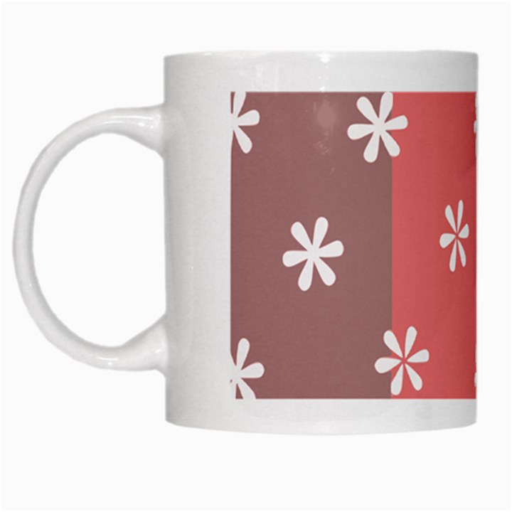Seed Life Seamless Remix Flower Floral Red White White Mugs