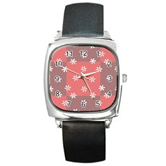 Seed Life Seamless Remix Flower Floral Red White Square Metal Watch by Mariart