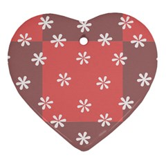 Seed Life Seamless Remix Flower Floral Red White Heart Ornament (two Sides) by Mariart