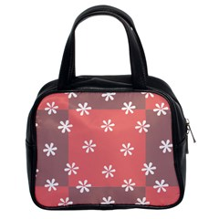 Seed Life Seamless Remix Flower Floral Red White Classic Handbags (2 Sides) by Mariart