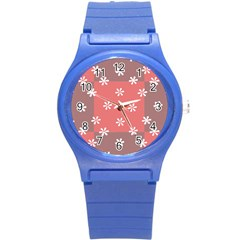 Seed Life Seamless Remix Flower Floral Red White Round Plastic Sport Watch (s) by Mariart