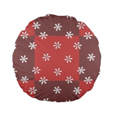 Seed Life Seamless Remix Flower Floral Red White Standard 15  Premium Flano Round Cushions by Mariart