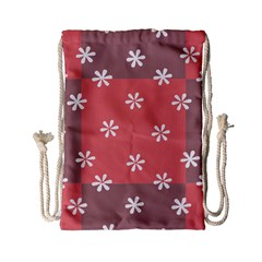 Seed Life Seamless Remix Flower Floral Red White Drawstring Bag (small) by Mariart
