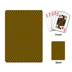 Stripy Starburst Effect Light Orange Green Line Playing Card by Mariart