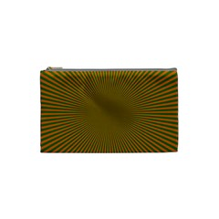 Stripy Starburst Effect Light Orange Green Line Cosmetic Bag (small)  by Mariart