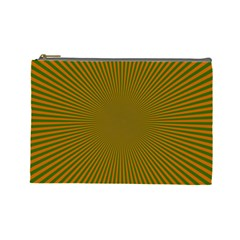 Stripy Starburst Effect Light Orange Green Line Cosmetic Bag (large)  by Mariart