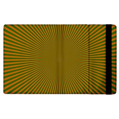 Stripy Starburst Effect Light Orange Green Line Apple Ipad 2 Flip Case by Mariart