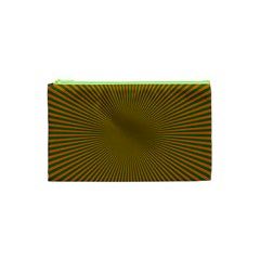 Stripy Starburst Effect Light Orange Green Line Cosmetic Bag (xs) by Mariart