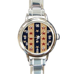 Stars Stripes Grey Blue Round Italian Charm Watch by Mariart