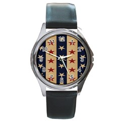 Stars Stripes Grey Blue Round Metal Watch by Mariart