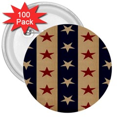 Stars Stripes Grey Blue 3  Buttons (100 Pack)