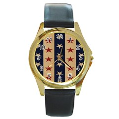 Stars Stripes Grey Blue Round Gold Metal Watch by Mariart