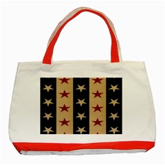 Stars Stripes Grey Blue Classic Tote Bag (red) by Mariart