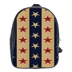 Stars Stripes Grey Blue School Bags(large)  by Mariart