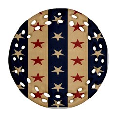 Stars Stripes Grey Blue Ornament (round Filigree) by Mariart