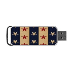 Stars Stripes Grey Blue Portable Usb Flash (two Sides) by Mariart