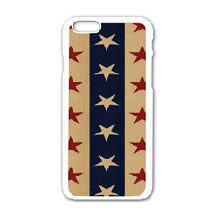 Stars Stripes Grey Blue Apple Iphone 6/6s White Enamel Case by Mariart