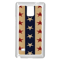 Stars Stripes Grey Blue Samsung Galaxy Note 4 Case (white) by Mariart
