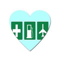 Traffic Signs Hospitals, Airplanes, Petrol Stations Heart Magnet by Mariart