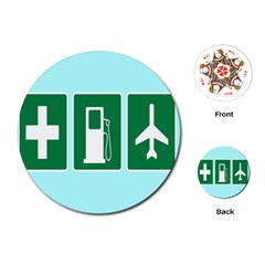 Traffic Signs Hospitals, Airplanes, Petrol Stations Playing Cards (round)  by Mariart