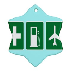Traffic Signs Hospitals, Airplanes, Petrol Stations Snowflake Ornament (two Sides) by Mariart