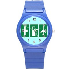 Traffic Signs Hospitals, Airplanes, Petrol Stations Round Plastic Sport Watch (s) by Mariart