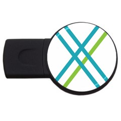 Symbol X Blue Green Sign Usb Flash Drive Round (4 Gb) by Mariart