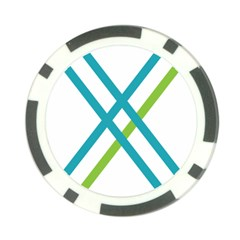 Symbol X Blue Green Sign Poker Chip Card Guard (10 Pack)