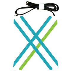 Symbol X Blue Green Sign Shoulder Sling Bags by Mariart