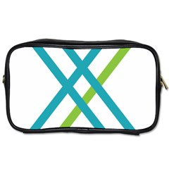 Symbol X Blue Green Sign Toiletries Bags 2 Side