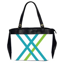Symbol X Blue Green Sign Office Handbags (2 Sides)  by Mariart