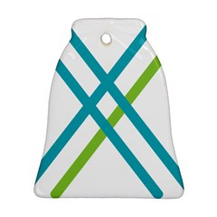 Symbol X Blue Green Sign Bell Ornament (two Sides) by Mariart