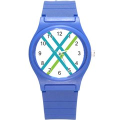 Symbol X Blue Green Sign Round Plastic Sport Watch (s) by Mariart