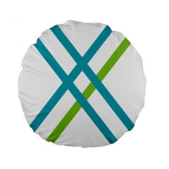 Symbol X Blue Green Sign Standard 15  Premium Round Cushions by Mariart