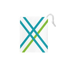 Symbol X Blue Green Sign Drawstring Pouches (xs)  by Mariart