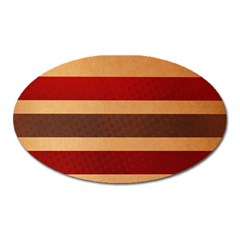 Vintage Striped Polka Dot Red Brown Oval Magnet by Mariart