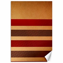 Vintage Striped Polka Dot Red Brown Canvas 12  X 18   by Mariart