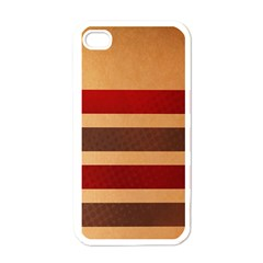 Vintage Striped Polka Dot Red Brown Apple Iphone 4 Case (white) by Mariart