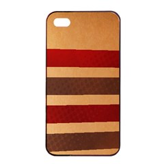 Vintage Striped Polka Dot Red Brown Apple Iphone 4/4s Seamless Case (black) by Mariart
