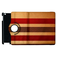 Vintage Striped Polka Dot Red Brown Apple Ipad 2 Flip 360 Case by Mariart