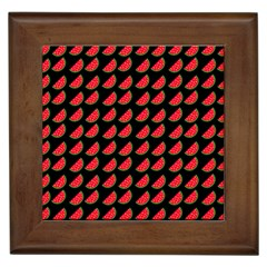 Watermelon Slice Red Black Fruite Framed Tiles by Mariart