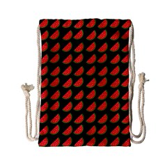 Watermelon Slice Red Black Fruite Drawstring Bag (small) by Mariart