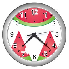 Watermelon Slice Red Green Fruite Wall Clocks (silver)  by Mariart
