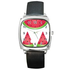 Watermelon Slice Red Green Fruite Square Metal Watch by Mariart