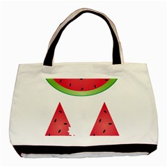 Watermelon Slice Red Green Fruite Basic Tote Bag