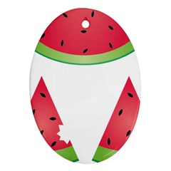 Watermelon Slice Red Green Fruite Oval Ornament (two Sides) by Mariart